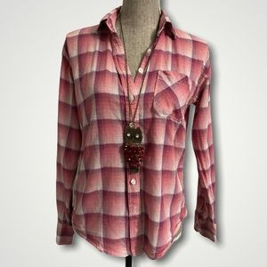 American Eagle Pink Plaid Button Up Shirt